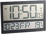 infactory Große Digitale Wanduhr: Digitale Funk-Wanduhr mit Jumbo-LCD-Display, Innentemperatur-Anzeige (Digitale Wanduhr mit Thermometer)