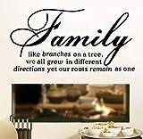 Familie wie Baum Ast Wandaufkleber Wohnzimmer Vinyl Kunst Wand Text Aufkleber Home Decoration 86 * 44