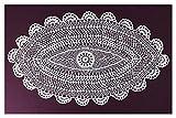 Spitzendeckchen Häkeldeckchen Tischdecke Handarbeit Vollhäkeldeckchen Untersetzer Aufleger Vintage 100% Baumwolle 20 x 30 cm Oval Ecru