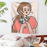 KHKJ Cartoon Charakter hängendes Tuch Nordic ins Wandteppiche Home Bettdekorationstuch Schlafzimmer Wandteppiche A18 200x150