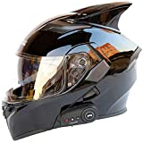 GHJNB Flip-up Bluetooth Modular Motorrad Helmets, Integrierter Klapphelm Motorradhelm, DOT Genehmigt, mit Doppel Sonnenvisier, Helles Schwarz,M
