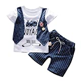 Kleinkind Baby Jungen Shorts Set, Sommer Gentleman Fashion Briefdruck Kurzarm Button Shirt + Gewebte Shorts Set 2 Stück O