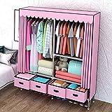 JLKDF WQF Leinwand Kleiderschrank Schublade Schlafzimmer Wohnzimmer Farbe Kleidung Bettwäsche Unterwäsche Lagerschrank Geschlossen Tragbar Staubdichter Klappschrank-Pink_162 * 45 * 168Cm