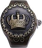 SSFG Vintage Crown Elastic Flap Ring Uhr, Retro Quarz Finger Watch Clamshell Ring Uhr, einstellbare dehnbares Armband, Frauen Männer Fingeruhren
