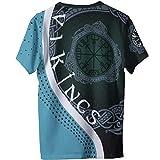 Feinny Vegvisir 3D Print Männer Sommer Quick Dry Viking Compass T-Shirt, Coole lässige Mode nordische Mythologie Odin Runes Amulett Tee, Teen Street Wear Kurzarm,Grün,6XL