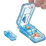 XCOZU Tablettenteiler, Tragbarer Tablettenschneider mit EdelstahlKlinge für Kleine Pillen und Große Pillen, 2-in-1 Pillenschneider mit Aufbewahrungsfach für Pillen, Transparentes Blau