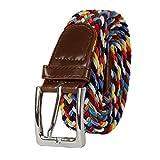 Glamexx24 Unisex Elastischer Stoffgürtel Geflochtener Stretchgürtel Dehnbarer Gürtel für Damen und Herren, Multy, 115cm