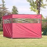 GYAM Windschutz im Freien, Windschutzscheibe für Camping, Windschutzscheibe für den Strand mit Tragetasche für Garten-Holzkohlegrills Grillpicknick,Rot