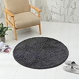 Lurowo Shaggy Teppich, rund, Chenille, Fußmatte, waschbar mit rutschfester Unterseite, dekorativer Teppich, super saugfähig, für Wohnzimmer, Schlafzimmer, Sofa, Badezimmer, 100 cm (dunkelgrau)