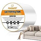 Focuspet Kratzschutz, Kratzabwehr Katzen 4''x33Yards (10cmx30m) Anti Kratz Katzen für Sofa, Tür, Möbel, Wand, Doppelseitig Transparent Katze Klebeb