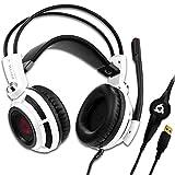 KLIM Puma - Micro Gamer Headset - 7.1 Surround-Sound - Hochqualitativer Klang - PS5 Headset mit Integrierte Vibrationen - Perfekt für PC Gaming, PS4, PS5 - Weiß [ Neue 2021 Version ]