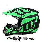 Kindermotorradhelm, Kinderkreuzhelm Entworfen mit Fox Kids Downhill Helm mit Handschuhen/Schutzbrille/Maske/Bungy Net (5 PCS) (L: 57-58cm)