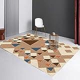 SunYe Nordische Geometrische Abstrakte Wohnzimmer Teppich Dicke Doppelschichtige Büro Fußmatten rutschfeste Verschleißfeste Türmatten Schlafzimmer Bett Fußmatten, Waschbare Haustier Tepp