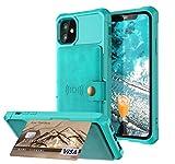 Schutzhülle für iPhone 12, Leder, 3 Kartenfächer, Ausweise, Kreditkarten, Fotorahmen oder Lizenz, 15,5 cm (6,1 Zoll), Fallschutz, Magnetverschluss, stoßfest, präzise Displayschutzfolie 11 2020, Grün