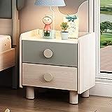 Wddwarmhome Moderner Kinder-Nachttisch aus Massivholz, Schubladenschrank mit zwei Griffen, Cartoon-Nette Massivholzschränke, Schlafzimmer-Mini-Möbel