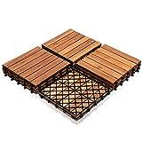 SONUG Holzfliesen aus Akazien Holz 30x30cm, 6 Latten Fliese 1m², Bodenfliesen geeignet als Terrassenfliesen und Balkonfliesen(11 Stück)