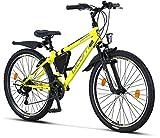 Licorne Bike Guide Premium Mountainbike in 26 Zoll - Fahrrad für Mädchen, Jungen, Herren und Damen - Shimano 21 Gang-Schaltung - Gelb/Schwarz