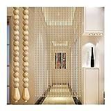 Perlenvorhang Türvorhang Holzperlen Vorhänge Tür-Fadenvorhänge, Massivholz Perlen Vorhang Handgefertigt, Stark Haltbar, Verwendet für Balkon Abgeschnitten, 35/41/45/51 Aktien PENGFEI