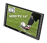 Xoro PTL 1400 35,5 cm (14 Zoll) Tragbarer DVB-T/T2 Fernseher (FullHD, 12-24V Kfz-Ladegerät, eingebauter Akku, HDMI IN, Antenne) grau