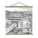 Stoffbild mit Posterleisten - Stadtstudie - Rom 100cm x 100cm Eiche
