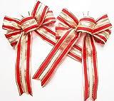 CaPiSo 2 Stück Große Satinschleife 20 x 30 cm,Geschenkschleife,Dekoschleife,Satin, Schleife (2 Stück Exclusiv Rot-Gold)