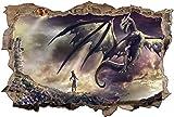 DCJ® Wandtattoos Wandtattoo Dragon Girl Giebel Aufkleber Wandaufkleber-1