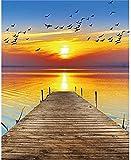 XIAOMA Sonnenschein Landschaft Poster Leinwand Malerei Kunst und Meer Holzbrücke Druck Poster Bild Modern Wohnzimmer Schlafzimmer Wanddekoration Kein Rahmen (60x80cm)