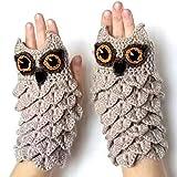 shenlanyu Warme Handschuhe für Erwachsene und Kinder, Winter, Herbst, warme Handwärmer, Eltern, Kinder, Winter, niedlich, Eulenstrick