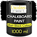 Creative Deco Schwarz Wandfarbe Kreidefarbe Tafelfarbe| 1000ml | 10 m² / 1L Effizient | Matt Farbe für Möbel, Holz, Metall, Glas | Wasserbasis Ungiftig | Aussenbereich Kreideschreiben und Zeichnen