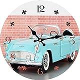 Dekorative Wanduhr Runde Vintage Wanduhr betrieben Blue Car Auto Shabby Retro Garage Wanddekoration Holzuhr-40