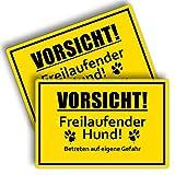 2 Stück Vorsicht Freilaufender Hund Schild 20 x 30 cm aus Stabiler PVC Hartschaumplatte 3mm Achtung vor dem Hund Schild mit UV-Schutz von STROBO
