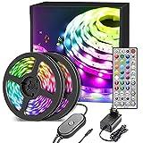 Led strips 20m, LED Streifen RGB mit Sync Musik, LED Band con 40 Tasten IR-Fernbedienung, LED Stripes für Zuhause, Schlafzimmer, Küche, Party