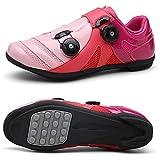 Herren-Rennrad-Fahrradschuhe, Ultraleichte Outdoor-Boost-Fahrradschuhe, rutschfeste Atmungsaktive Rotierende Reitschuhe (Rosa)