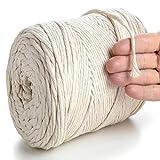 MeriWoolArt Natürliches Makramee-Seil - 225 m superweiche Makramee Schnur mit 4 mm Einfachdrehung - Neue Qualität aus recycelter Baumwolle und Viskose (Natürliche Farbe)