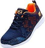 Sicherheitsschuhe Herren Damen, Leicht SRC rutschfeste Anti-Piercing Schuhe Schutz Arbeitsschuhe mit Stahlkappe Sicherheitssneaker (Orange 45 EU)