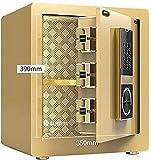 DGHJK Tresorsafes für zu Hause, Geldtresore, Safes für zu Hause Elektronische Tresore mit mittlerem Wohnraum Kleiner 40-cm-Safe Ganzstahl-Sicherheitstisch (Farbe: Gold, Größe: 363140 cm)