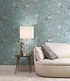 Vliestapete Petrol Türkis Braun Blumen Tapete Vintage Muster floral modernes Design für Flur Küche Schlafzimmer Wohnzimmer 10,05m x 0,53m 100% Made in Germany