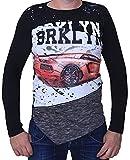 Generisch Jungen Kinder Langarmshirt Sweatshirt Pullover Bluse Langshirt (134-140, Schwarz)