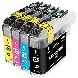 ESMOnline komp. Druckerpatronen (4 Farben) für Brother MFC J245 J870DW J4410DW J4510DW J4610DW J470DW J4710DW J650DW J6520DW J6720DW J6920DW DCP J132W J152W J4110DW J552DW J752DW (LC123) (4er Set)