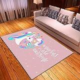 SONGHJ 3D Gedruckter Teppich, Cartoon Rosa Märchenteppich, Mädchen Schlafzimmer Nachttisch Bodenmatte, Weiche Krabbelmatte Für Kinderzimmer 120 * 180cm