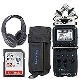 Zoom H5 4-Input / 4-Track Portable Handy Recorder mit austauschbaren X/Y Mic Kapsel + Zoom PCH-5 Schutzhülle für H5 + Samson SR350 Over-Ear Stereo Kopfhörer + 32GB 80MB/S Speicherkarte