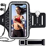 Autkors Sportarmband Handy für iPhone 12/12 Pro/11/11 Pro/X/XS/XR/7/8 bis zu 6,1', Schweißfeste Handytasche Sport Armband mit Verlängerungsband, Kopfhörerloch und Schlüsselhalter