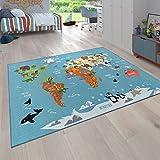 Paco Home Kinder-Teppich Für Kinderzimmer, Spiel-Teppich, Weltkarte Mit Tieren, In Grün, Grösse:120x160 cm