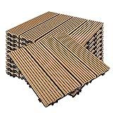 PPLAS Kunststoffholz-Verbundplatinen-Garten-Bodenplatten WPC. Decking Fliesen 32 * 28 cm für Gartenterrasse zur Fixierung WPC. Bodenfliesendeckel. (Color : 01)