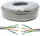 Mr. Tronic 50m Ethernet Netzwerk Netzwerkkabel   Installationskabel   CAT5E, AWG24, CCA, UTP, RJ45   Grau (50 Meter)
