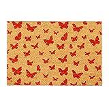 Relaxdays Fußmatte Kokos, 40x60 cm, Kokosmatte, Schmetterling Motiv, rutschfest, Schuhabtreter, innen & außen, natur/rot