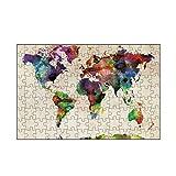 artboxONE-Puzzle S (112 Teile) Reise World Map Urban Watercolor - Puzzle Weltkarte Welt Weltkarte