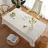 CCBAO Polyester Quaste Haushalt Rechteckige Tischdecke Einfarbig Weiße Quaste Tischdecke Stickerei Bedruckte Tischdecke Tischläufer Wohnzimmer Couchtischdecke 140x240cm