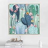 Leinwand Malerei Wandkunst Minimalistisch Nordic GroßE Tropische Pflanze Poster Und Drucke Kaktus Blumenbilder FüR Wohnzimmer-50x50cm Rahmenlos