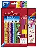 Faber-Castell 201351 - Buntstift Colour Grip, Promotionetui 2016, inklusive 2 Connector Pen